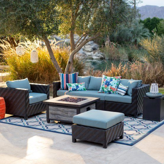 Belham Living Cara All Weather Wicker Fire Pit Conversation Set Fire Pit Patio Set Conversation Set Patio Fire Pit Table Set Outdoor conversation sets with fire pit