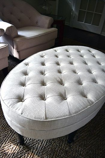 Linen Tufted Ottoman | Chairs & furniture | Pinterest | Tapizado ...