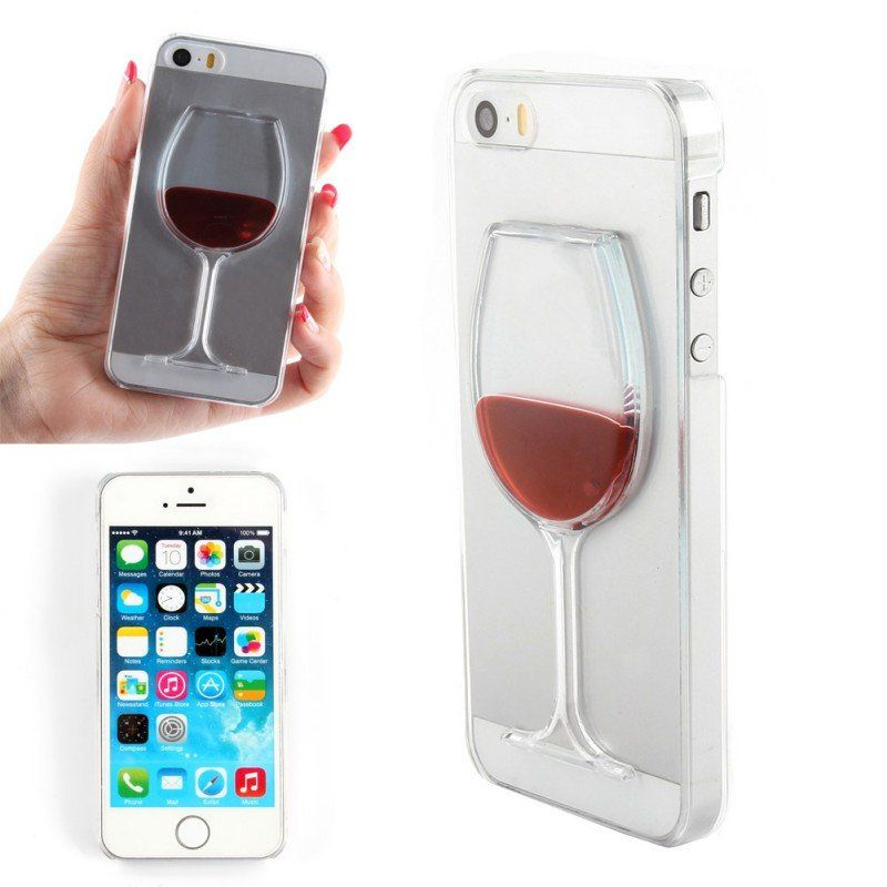 Liquid Quicksand wine glass cocktail bottle Phone Cover Case For IPhone 5 5s New and great fun