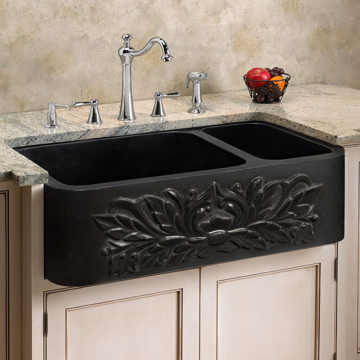 33 Ivy Polished Granite 70 30 Offset Double Well Farmhouse Sink Black Kitchen Sinks Kitchen Black Farmhouse Sink Farmhouse Sink Kitchen