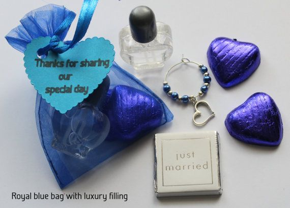 Royal Blue Wedding Favour Bags With A Selection Of Fillings