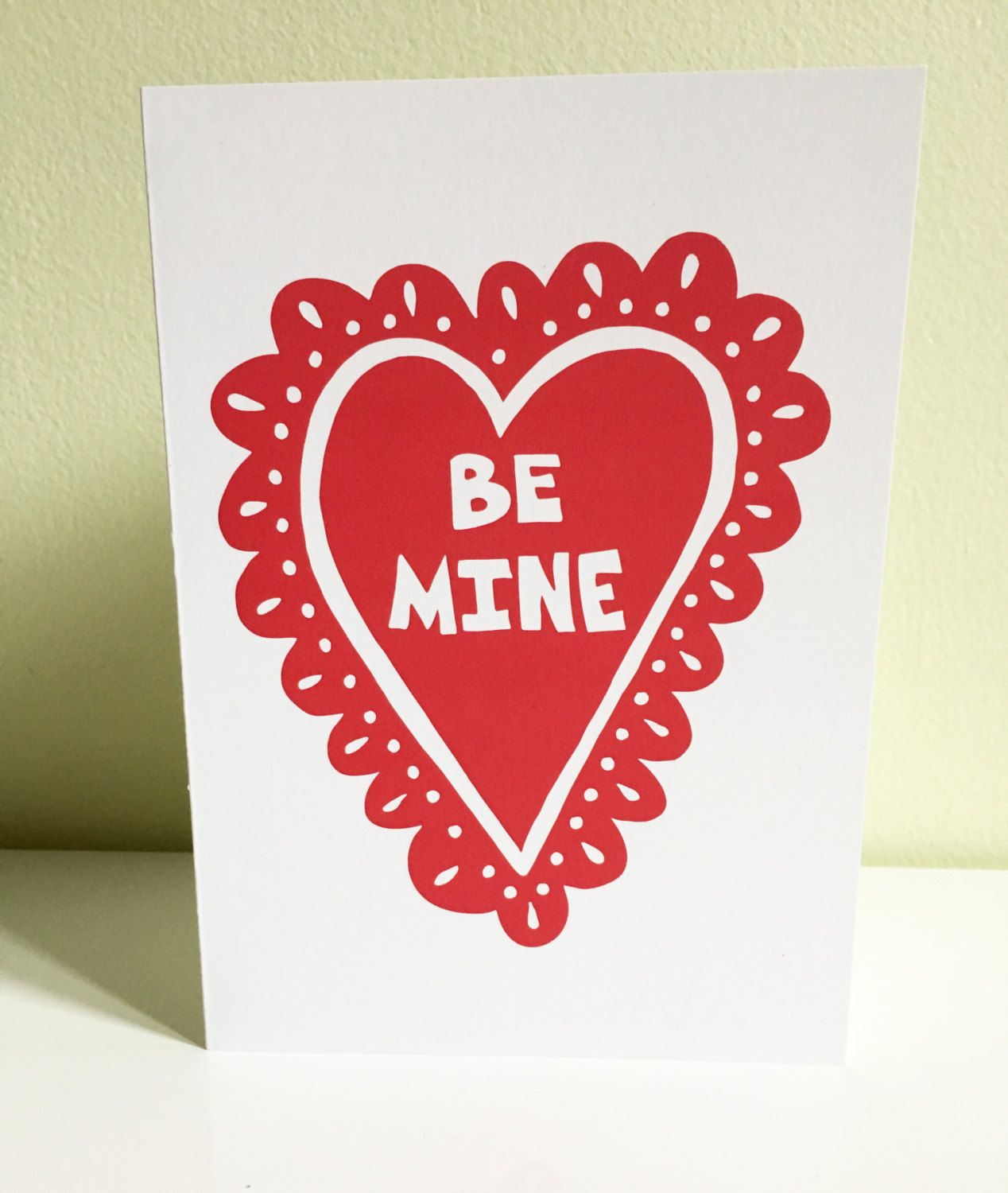 Valentine Be Mine Lacy Heart Greeting Card Love Card Valentines