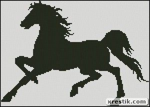 Horse 2 Download scheme embroidery monochrome horse animals