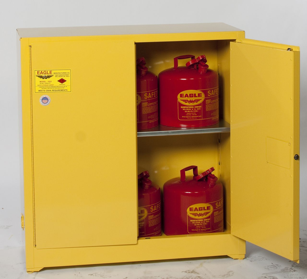 Eagle 1932x Flammable Storage Cabinet 30 Gal Manual Close Storage Cabinets Storage Locker Storage
