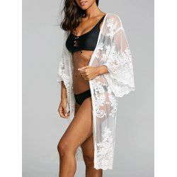 626525a17a559 Buy wholesale lace embroidered sheer kimono cover up one size white for  $12.66 from China cover-ups & kaftans wholesaler. Online kimono cover up  and sheer ...