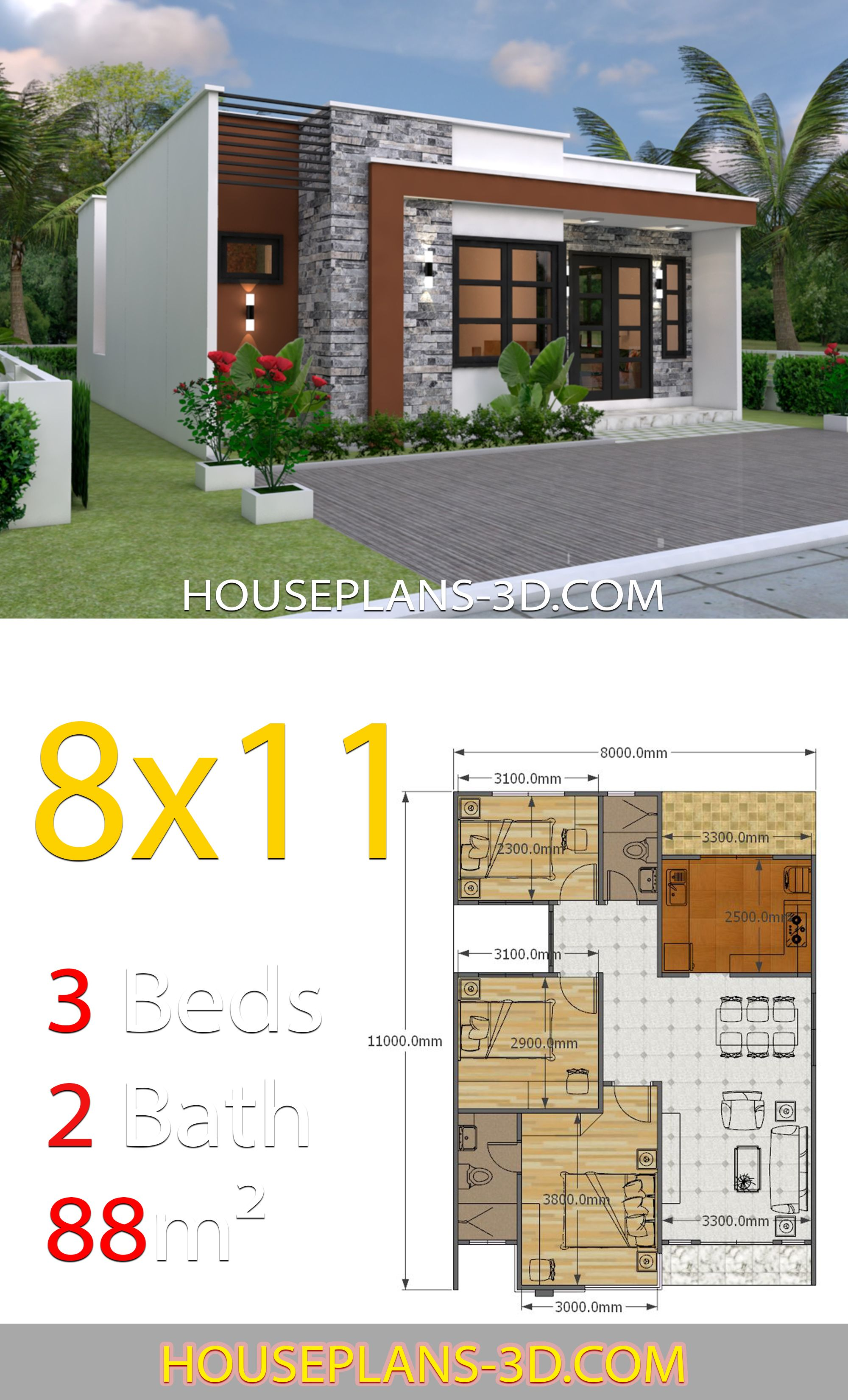 House Design 8x11 With 3 Bedrooms Full Plans House Plans 3d In 2020 House Front Design Small House Design Plans House Construction Plan