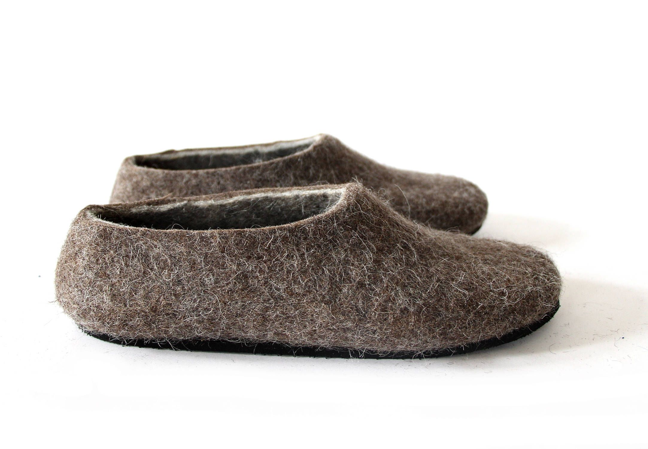 07b3918589f Felted wool slippers, women house shoes for men, Valenki Beige Brown ...
