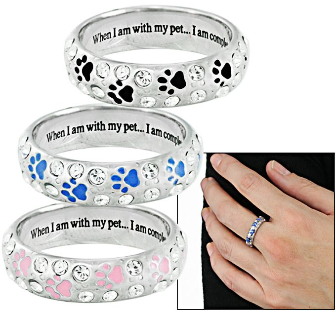 dog cat ring paw new women shipping gold item skyangel girls from footprints heart drop fashion bands lovers adjustable in wedding rings pet for jewelry hollow