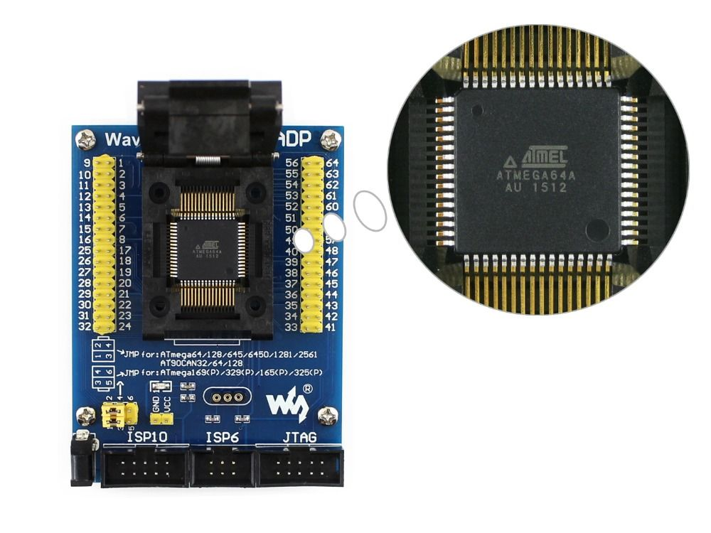 M64+ ADP # ATmega64 ATmega128 ATmega169 mega64 mega128 mega169 TQFP64 AVR Programming Adapter Test Socket + Free Shipping
