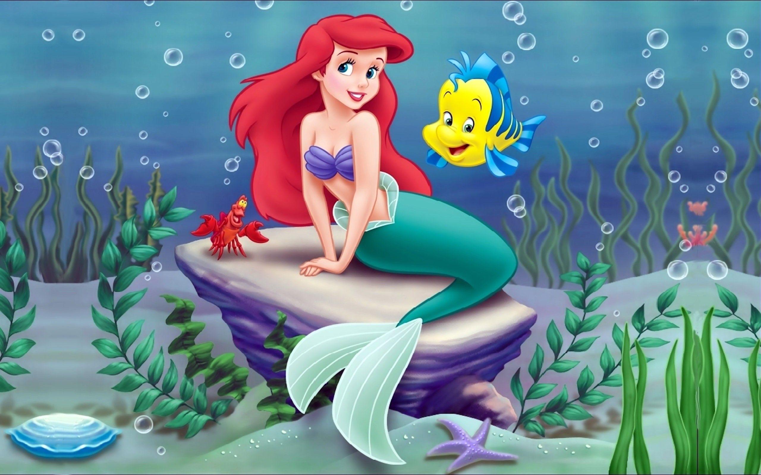 Wallpapers Arielle Ariel Little Mermaid With Her Lovely Fish 2560x1600 Little Mermaid Wallpaper Mermaid Wallpapers Mermaid Disney