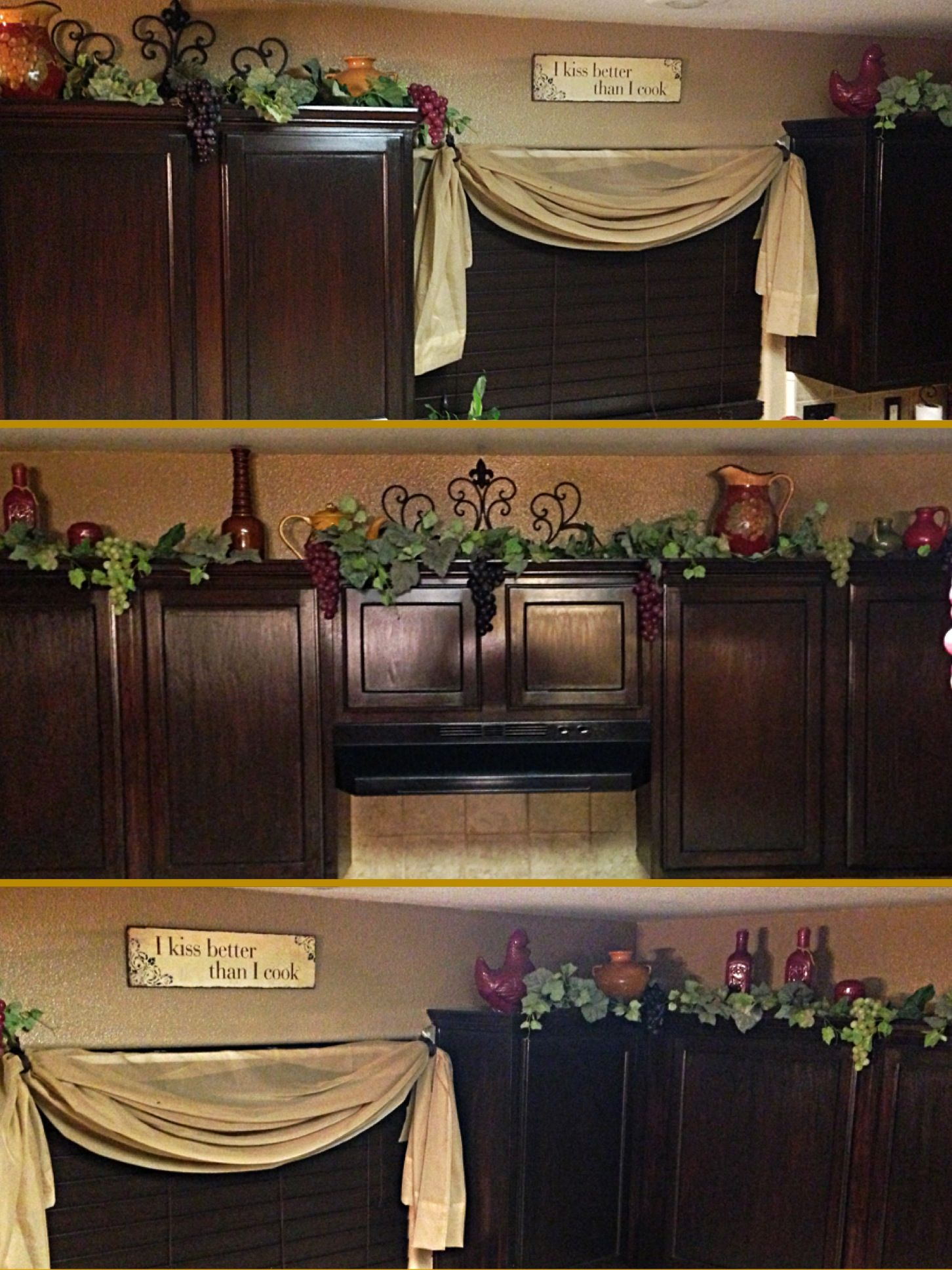 Decor On Top On Kitchen Cabinets Grapes Vines And Porcelain Pots