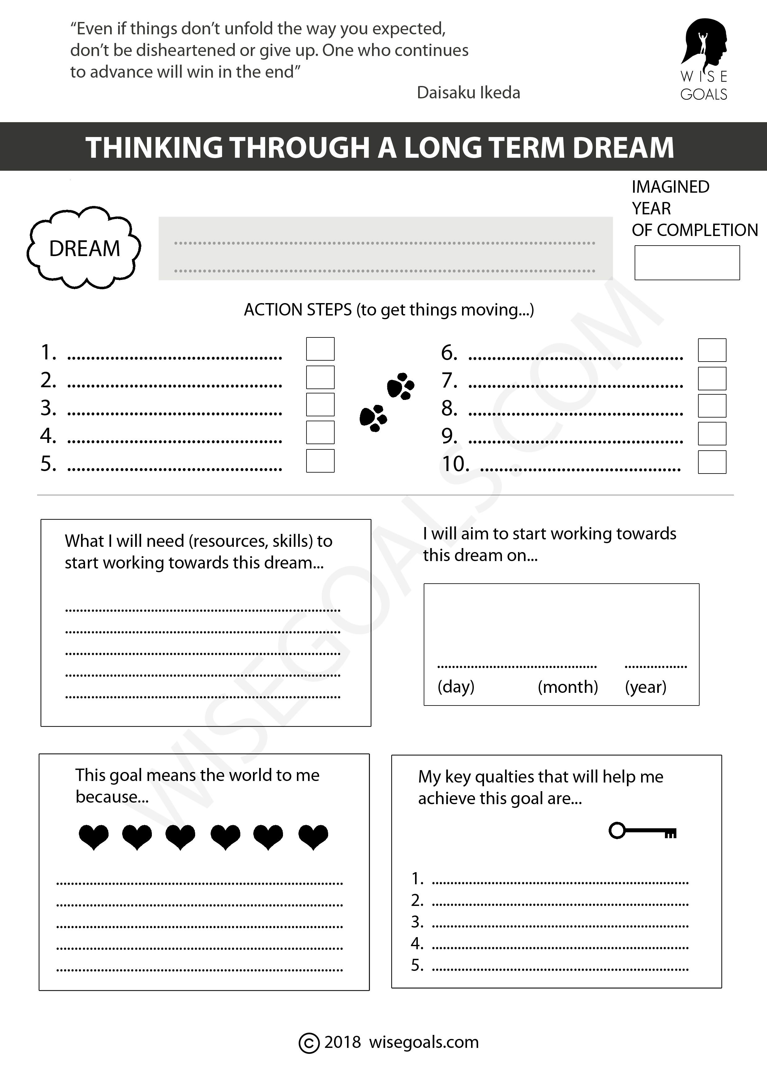 Sometimes A Dream Remains A Dream Because We Lack The Courage To Write It Down And Seriously Think A Smart Goals Worksheet Goal Setting Template Goals Template [ 3508 x 2480 Pixel ]