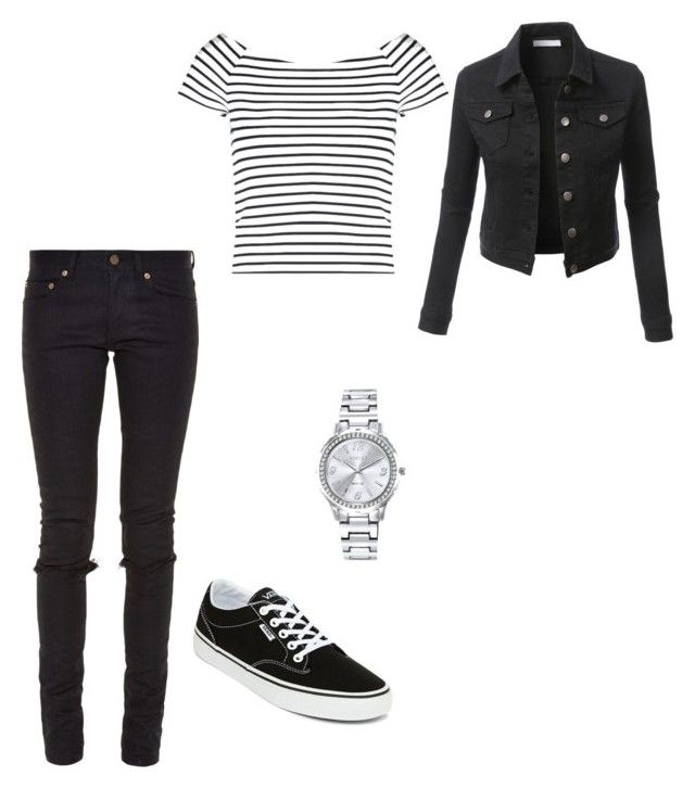 """""""Watch"""" by ashtonsgirl-5soslover on Polyvore featuring Lipsy, Yves Saint Laurent, Vans, LE3NO and Mestige"""