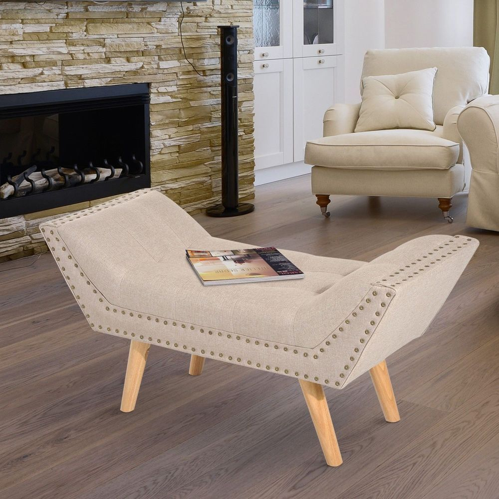 Cream White Linen Chaise Lounge Wood Frame Hallway Bedroom Living