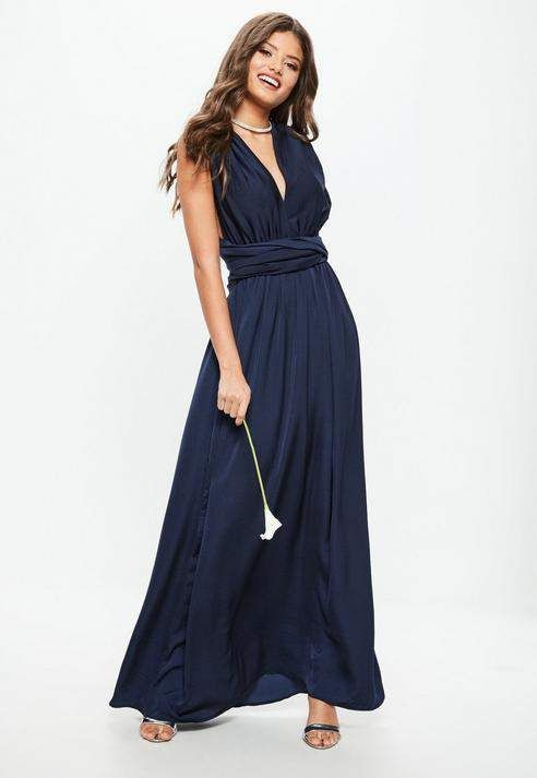 97a0b9d0179 Bridesmaid Navy Satin Multiway Maxi Dress  missguided  ad