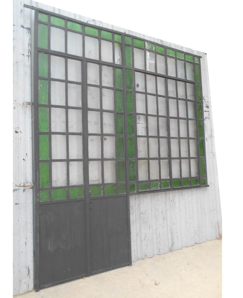 Antigua puerta ventana mampara hierro 255x290cm for Puertas y ventanas de hierro antiguas