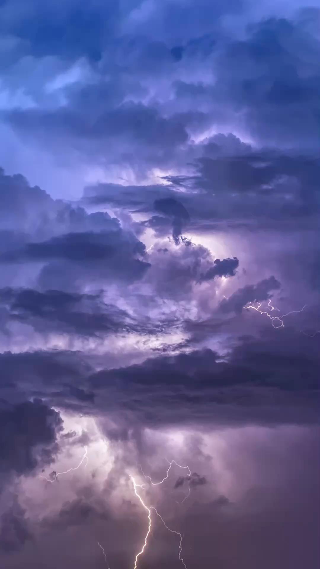 Clouds Lightning Ocean Moon Wallpaper 1001
