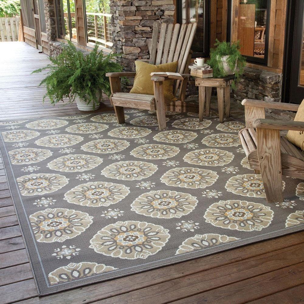 Stylehaven Floral Grey Gold Indoor Outdoor Area Rug Overstock Com