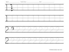 numbers 1 and 2 tracing worksheet | Kids | Pinterest