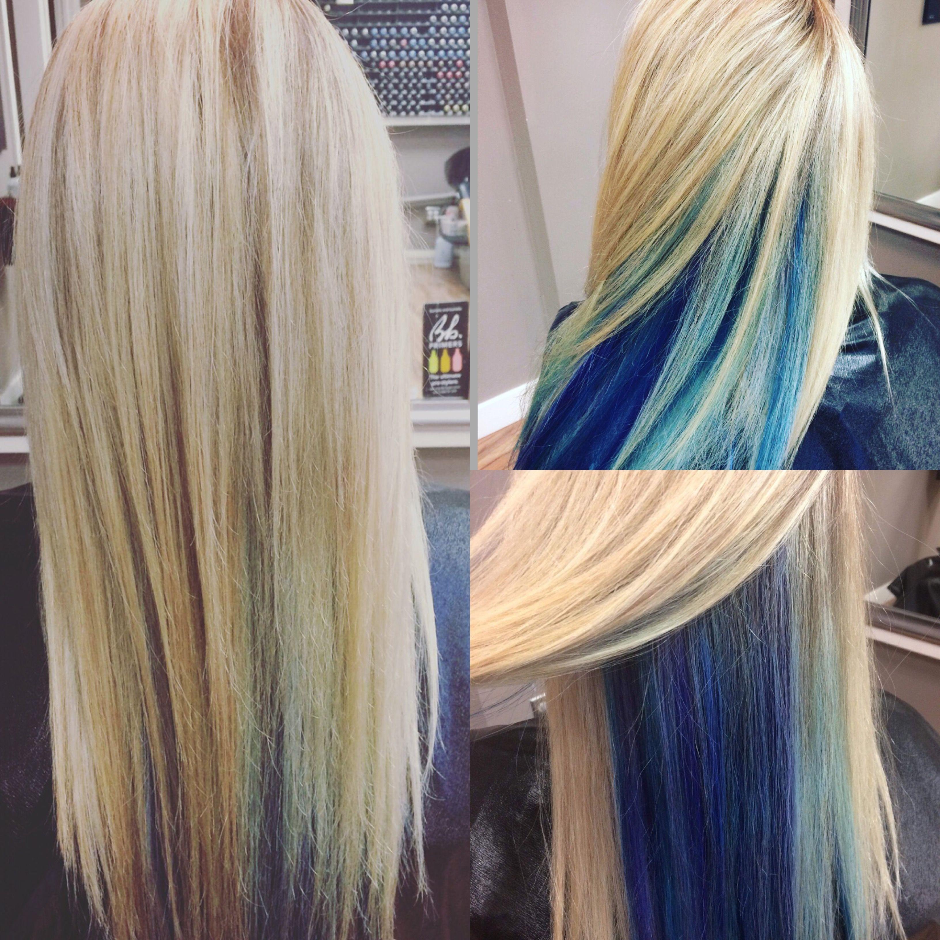 Blue Highlights Peek A Boo Highlights Blue Hair Mermaid Hair Blonde Hair With Blue Highlights Blonde And Blue Hair Blue Hair Highlights Mermaid Hair Color