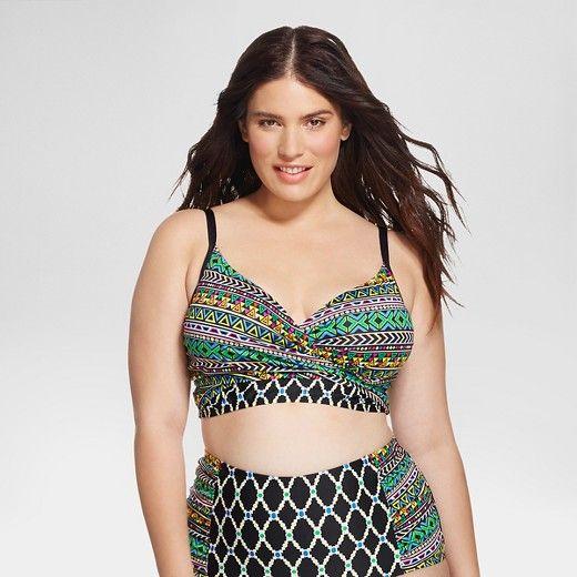 602e328c57 Women's Plus Size Diamond Paisley Wrap Bikini Top Black - Clean Water :  Target