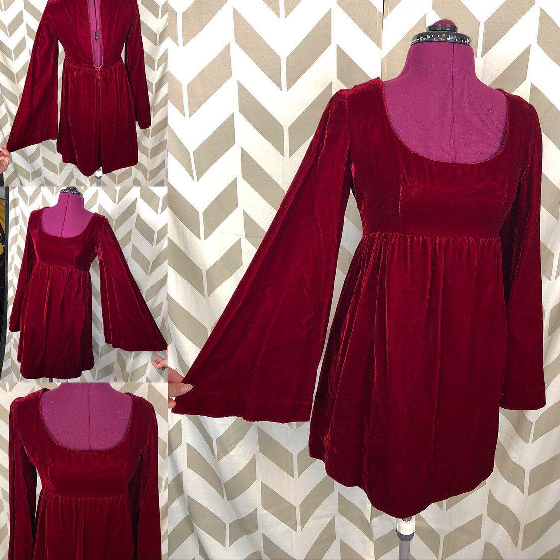 60s Red Velvet Dress Babydoll Dress Gogo Dress Boho Etsy Velvet Dress 60s Velvet Dress Disco Dress