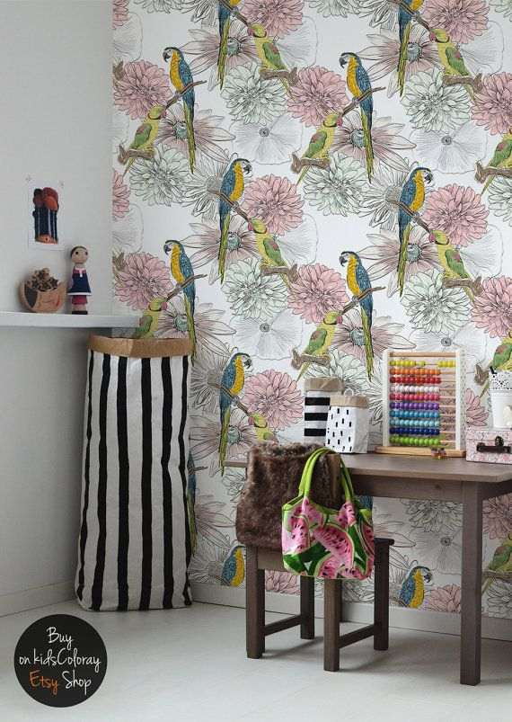 Parrot and flowers wallpaper Hand drawn style wall mural for