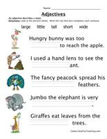 Adjectives Size Worksheet 2 Adjective Worksheets With Images