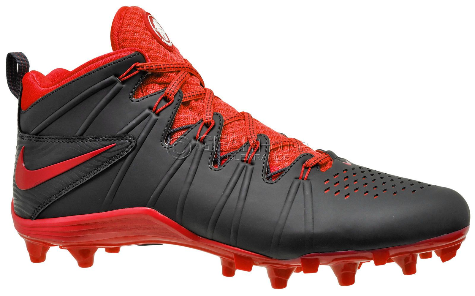 New NIKE Huarache 4 LAX Mens Lacrosse Cleats Football LX : Black Red : 8.5