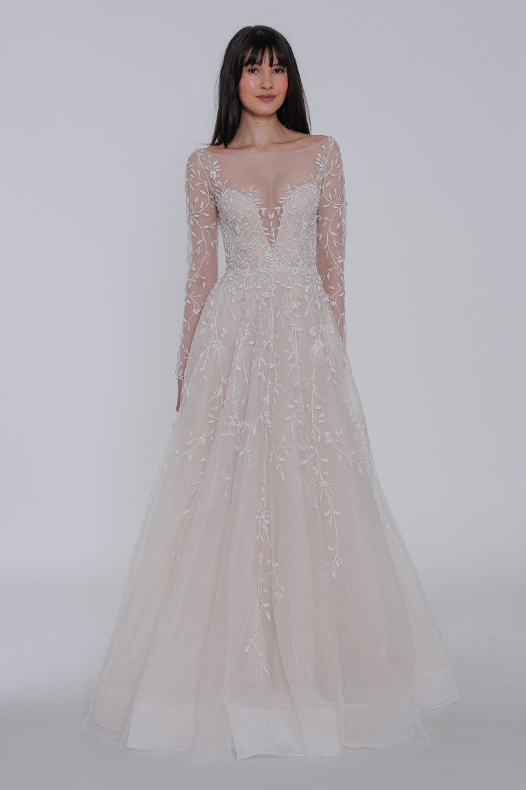 Style 3901 Tatiana Lazaro Bridal Gown Ivory Beaded And Embroidered Art Deco Inspired Slip Br Lazaro Wedding Dress Art Deco Wedding Dress Fitted Wedding Dress