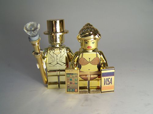 Mr  Gold and his Gold Digger by Paul Janowski   Custom Gold Chrome     Mr  Gold and his Gold Digger by Paul Janowski   Custom Gold Chrome LEGO  Minifigs