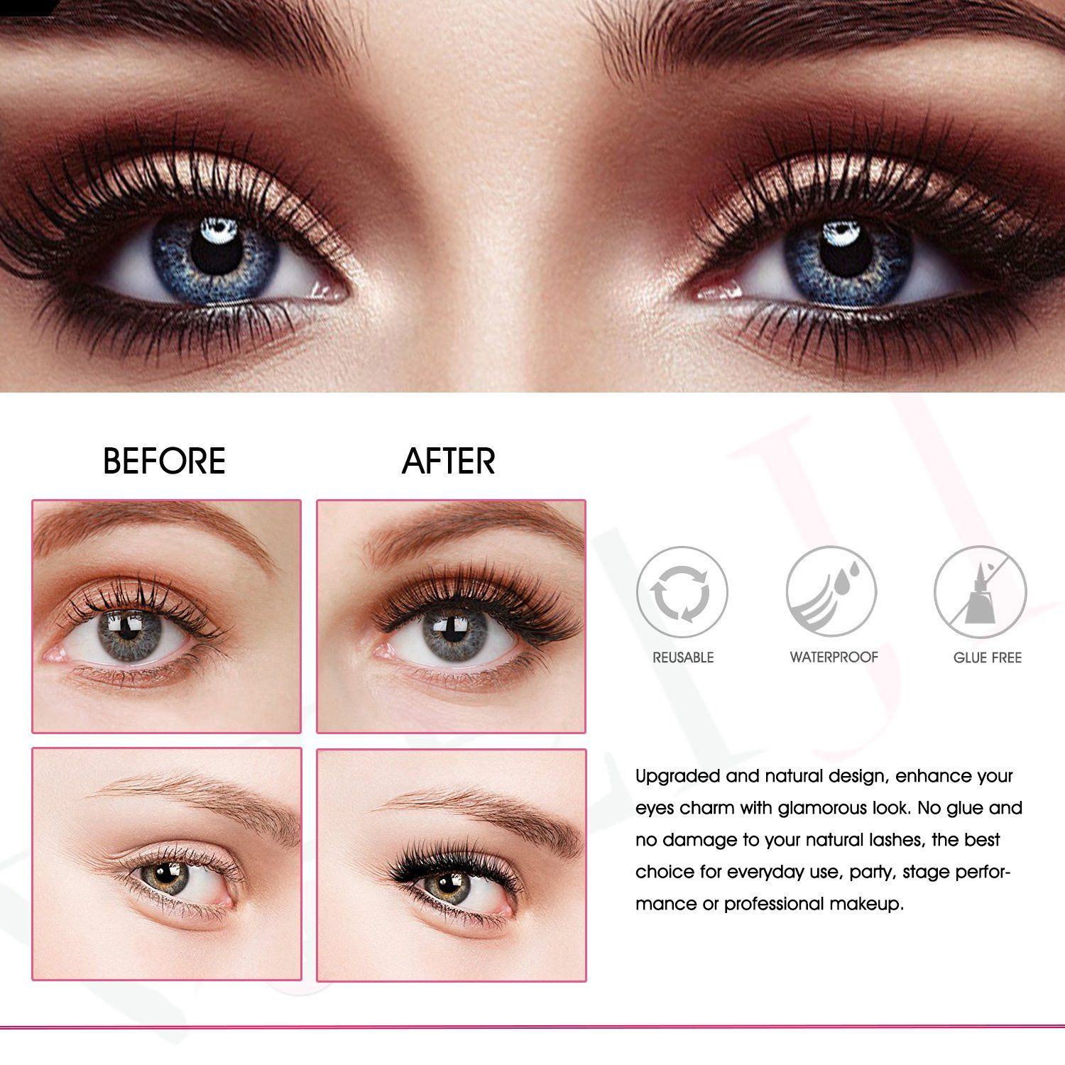 1c7cc4ddd26 Magnetic Eyelashes No Glue Dual Magnets Natural False Eyelashes 3D Reusable  Full Eye Fake Lashes Extensions Thick Soft and Handmade Seconds to Apply 1  ...