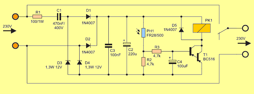 Schematic Diagram Relay Switch Bc516 Light Activated Relay