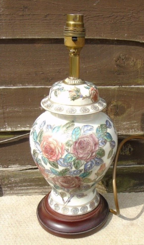 Vintage Oriental Ginger Jar Table Lamp Cloisonne Style On