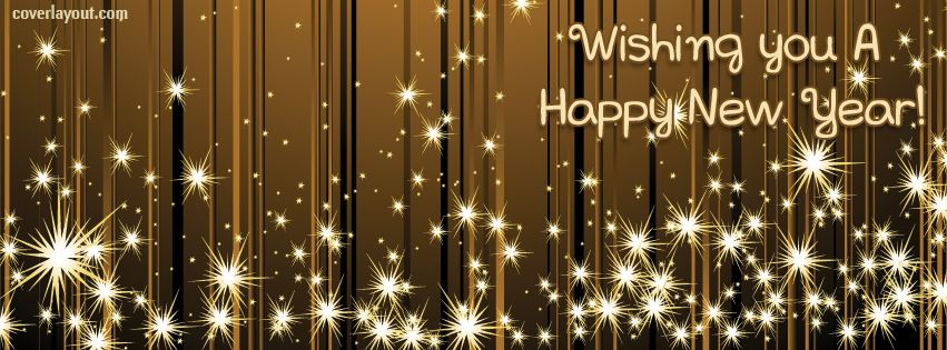 Wishing You A Happy New Year Gold Stars Facebook Cover