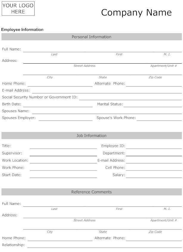 Employee Personal Information Form Letter Template Word Job