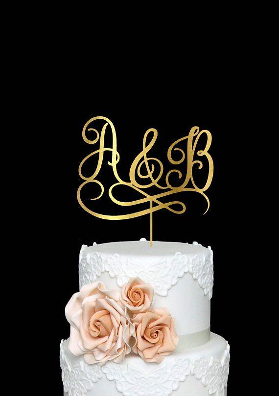 Initials Personalized Cake Topper Monogram Customized Wedding Rose