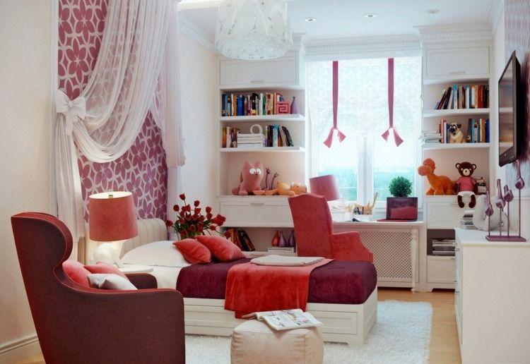 Jugendzimmer Beispiele - Hübsche Farbwahl in Rot und Weiß