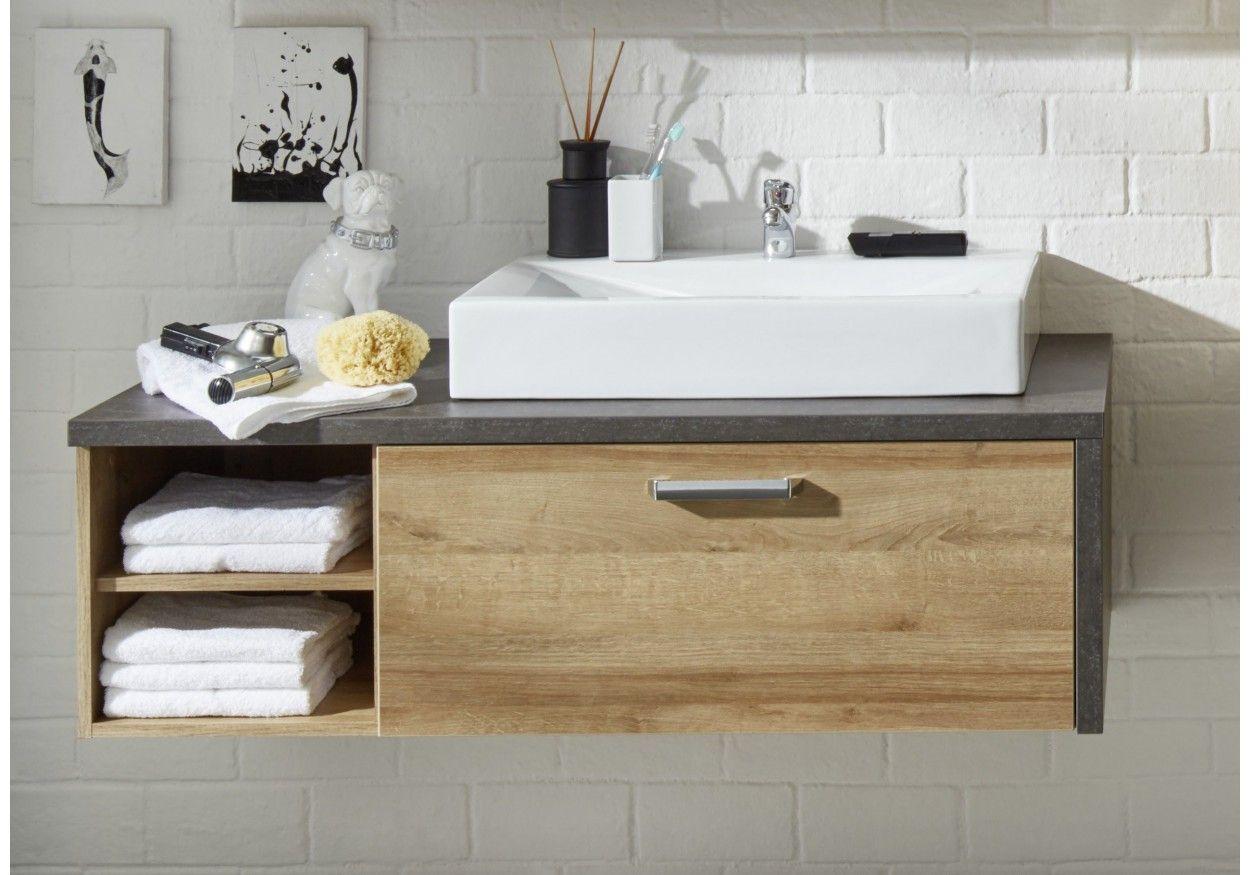 93 01137 Waschbeckenunterschrank Eiche Riviera Honig Beton Badezimmer Unterschrank Holz Badezimmer Unterschrank Waschbeckenunterschrank