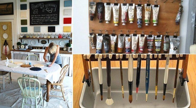 20 idées pour bien organiser son atelier de peinture!   My art studio, Craft room, Life organization