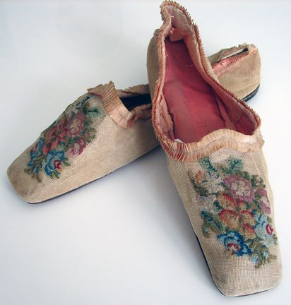 Rare Canvas Ladies Shoes w/ Needlepoint Flowers - Circa 1800's