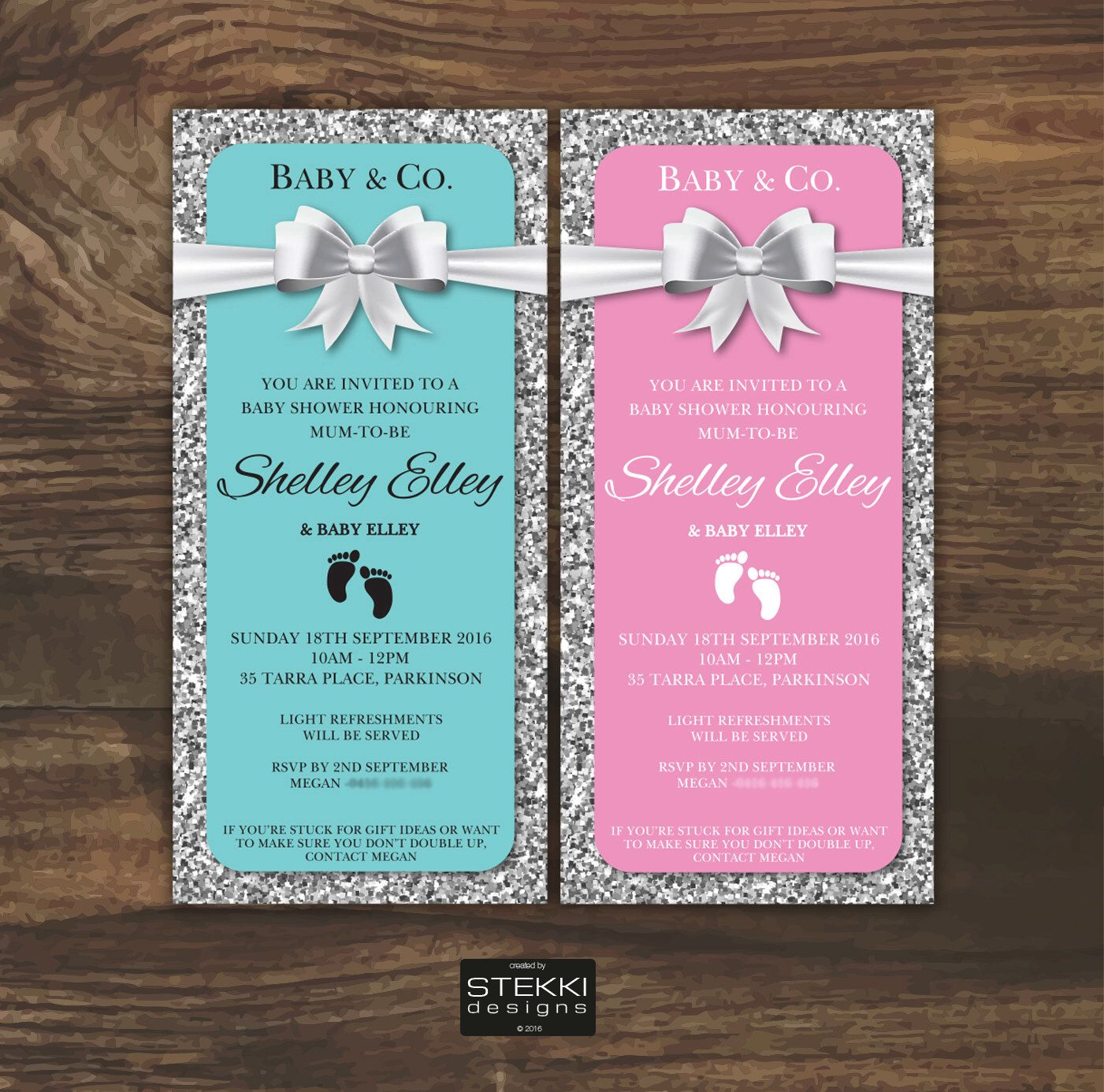 Baby & Co baby shower invitation, glitter and bling baby shower ...