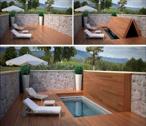id es de paysagiste une mini piscine se tranforme en terrasse basen piscina cubierta. Black Bedroom Furniture Sets. Home Design Ideas