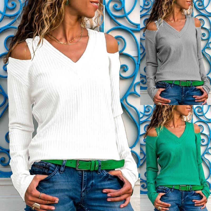 038ad4280b V Neck Cutout Plain Sweaters – maxpassion