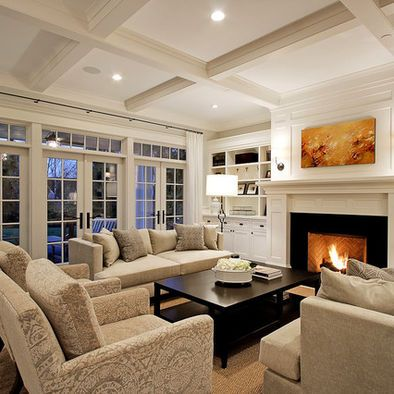 Furniture Placement Long Couches On Sides Of Room And Two Identical Chairs In Front Of Fireplace Traditional Design Living Room Traditional Living Room Home