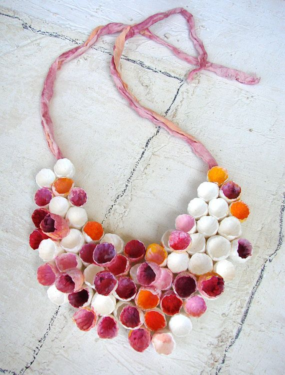 Paper flower necklace statement necklace pink fuchsia white paper paper flower necklace statement necklace pink fuchsia white mightylinksfo