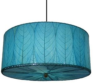 Natural Cocoa Leaf Blue Hanging Drum Pendant Lamp Kitchen Lighting Dining