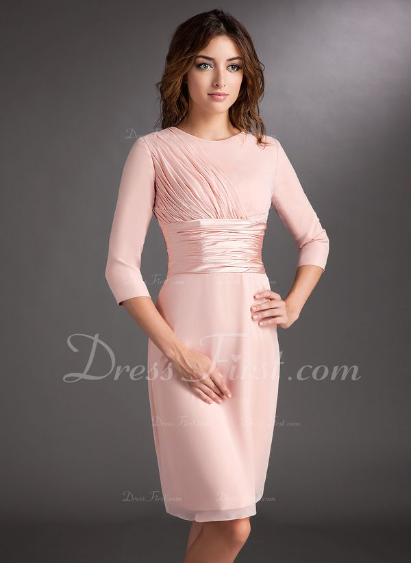 Sheath/Column Scoop Neck Knee-Length Chiffon Mother of the Bride ...