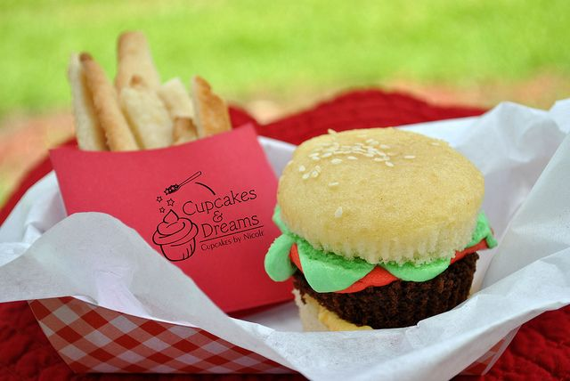 """Burger and Fries birthday // sugar cookie french fries // cupcake """"burger"""" made out of brownies and cupcakes"""