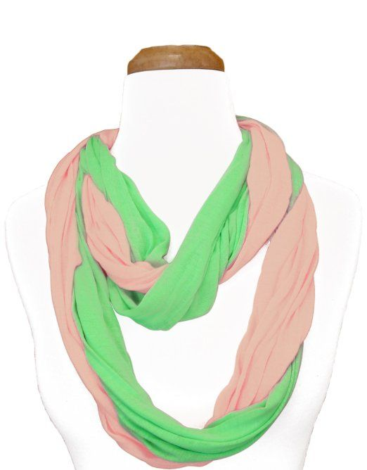3dbbdd39e6274 Pink and green infinity scarf   Pearls and Ivy   Alpha kappa alpha ...